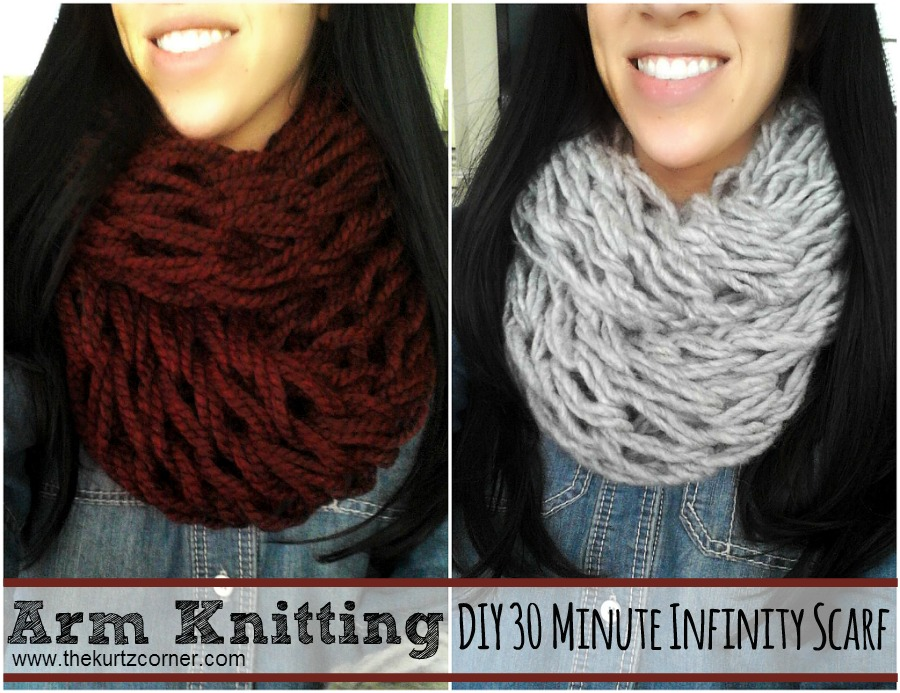 The Kurtz Corner Arm Knitting Diy 30 Minute Arm Knit Infinity Scarf