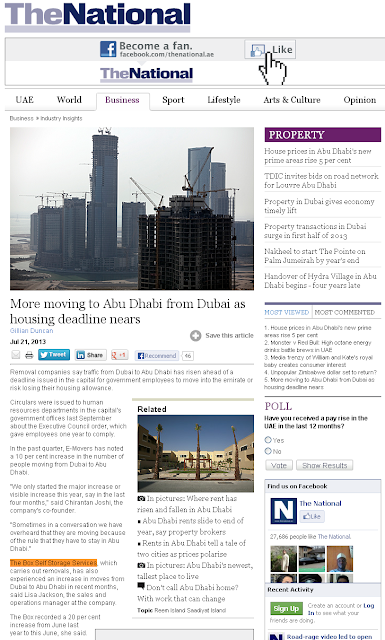 The Box Self Storage Service mention on thenational.ae