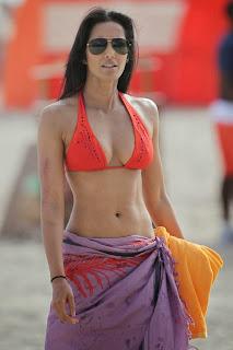 English: Padma Lakshmi Orange Bikini Miami