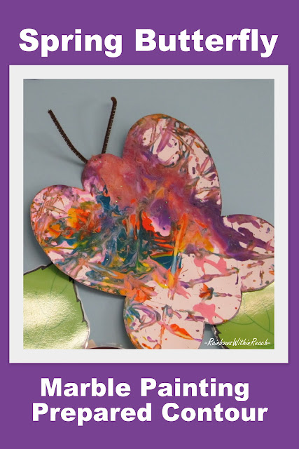butterfly painting, spring Art for children, preschool, marble painting