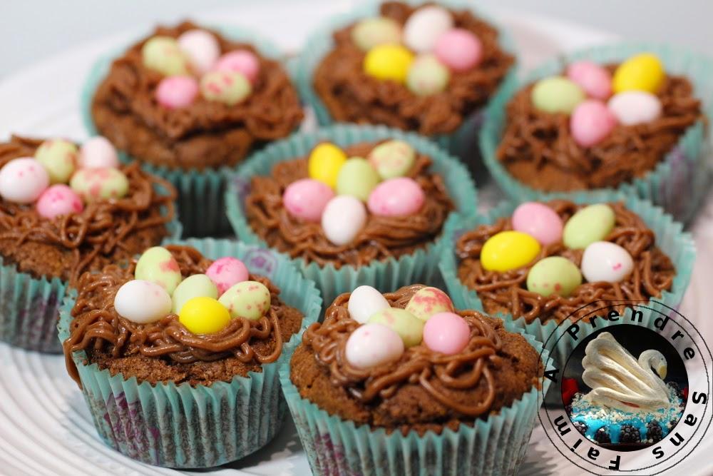 Cupcakes nids de p ques au chocolat a prendre sans faim - Recette nid de paques au moka ...