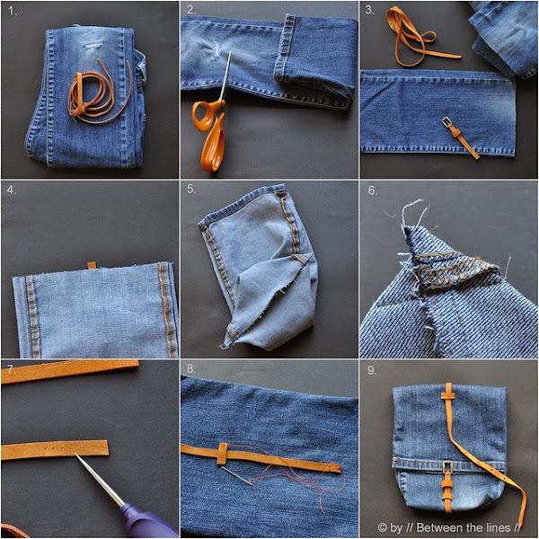 Bolso de pantalón vaquero viejo DIY