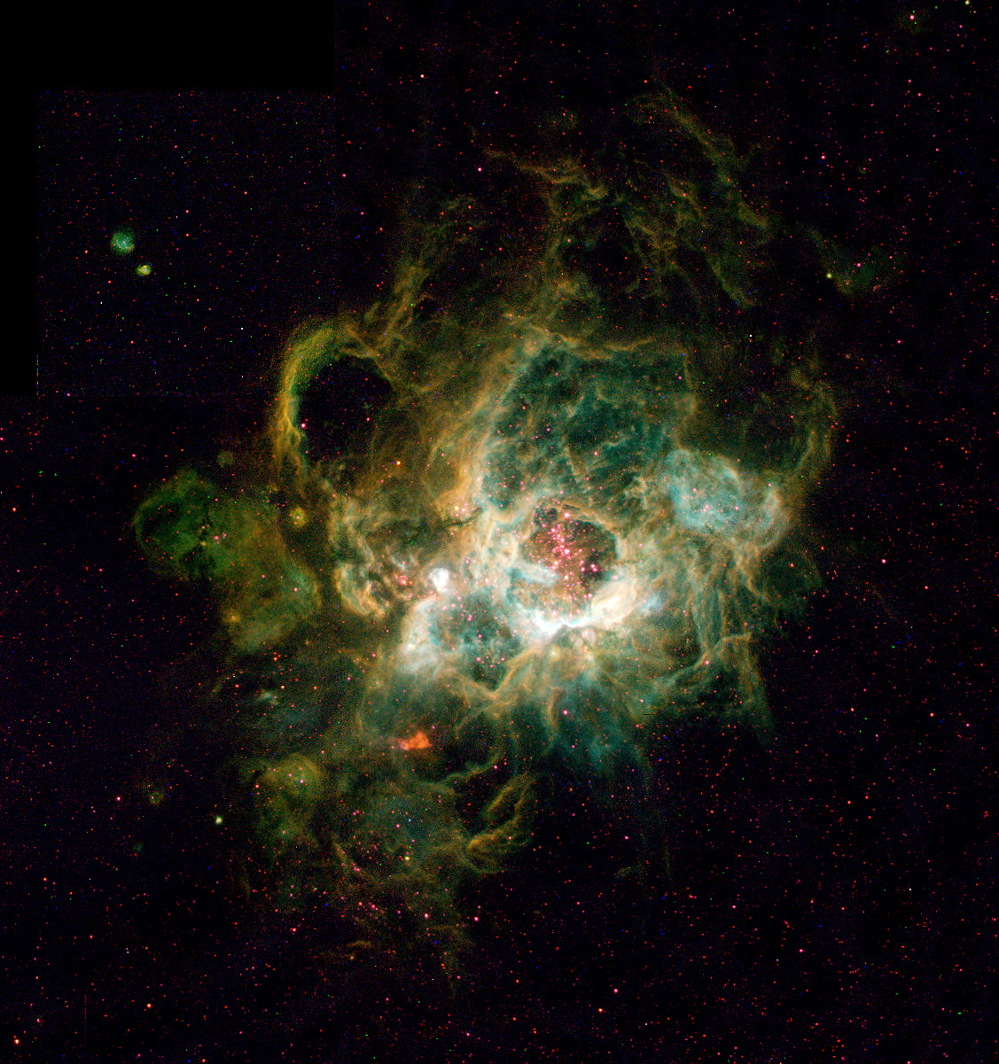 NGC 604 in Galaxy M33 NGC 604 in Galaxy M33   This is a Hubble Space Telescope image of a vast nebula called NGC 604, which lies in the neighboring spiral galaxy M33, located 2.7 million light-years away in the constellation Triangulum.  Image Credit: Hui Yang (University of Illinois) and NASA/ESA