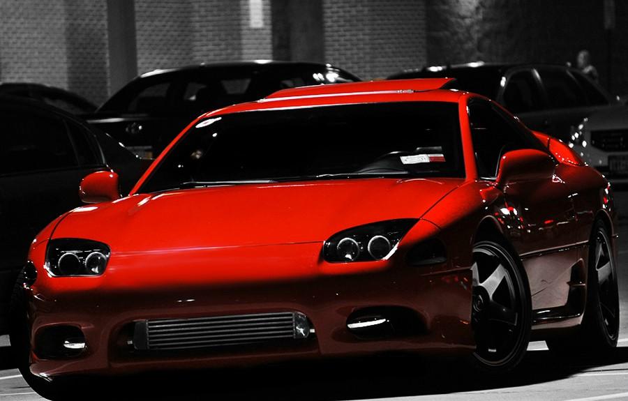 Mitsubishi 3000GT (GTO), nocna fotografia, samochody nocą, auta po zmroku, wieczorem, mrok, japońskie, motoryzacja, JDM, tuning, zdjęcia, photos, at night, cars, photography