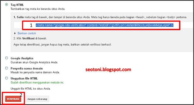 Cara Verifikasi Blogspot di Google Web master