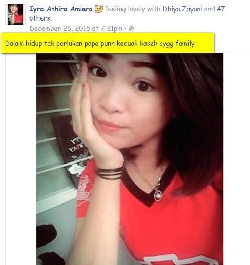 Gambar Selfie Tersebar, Ini Status Terakhir Amirah Sebelum 'Kena Culik'