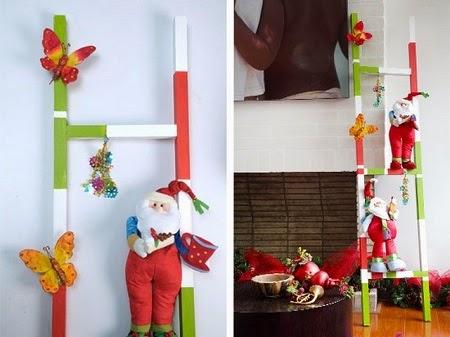 Arboles de navidad con escaleras recicladas - Escaleras decoradas en navidad ...
