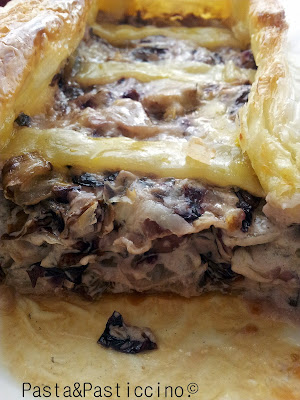 tarte radicchio, gorgonzola & pere