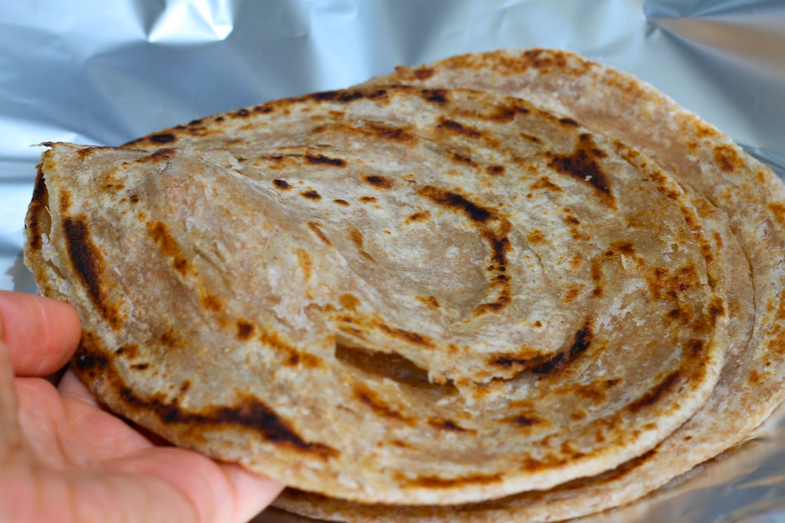 Flaky, freshly-made parathas