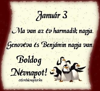 Január 3, Genovéva, Benjámin