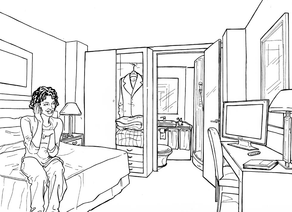 Nacho castro ilustrador habitaci n de hotel for Dormitorio para dibujar facil