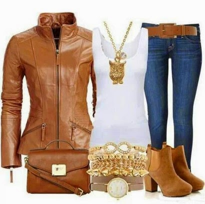 Images For Brown Leather Jacket Women Outfit