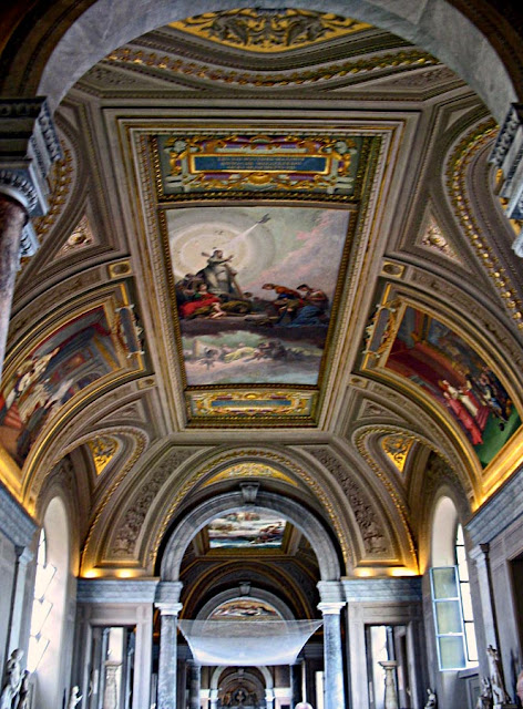 corridor ceiling art inside the vatican city church