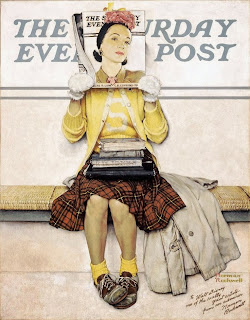 Illustration by Norman Rockwell of a girl reading for the saturday evening post