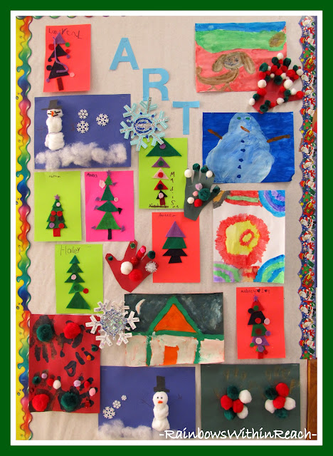 photo of: Christmas Art Project Bulletin Board (Christmas Bulletin Board RoundUP via RainbowsWithinReach)