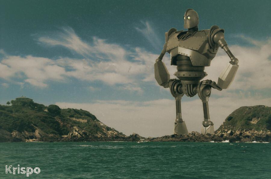 gigante de hierro en la costa