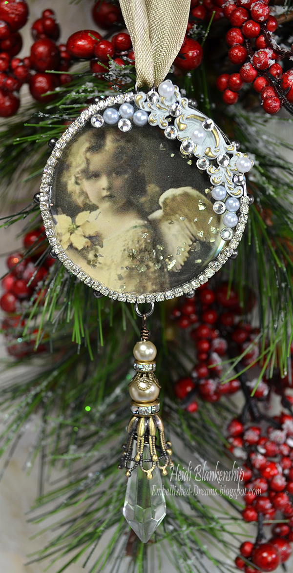 Embellished dreams vintage christmas angel ornament