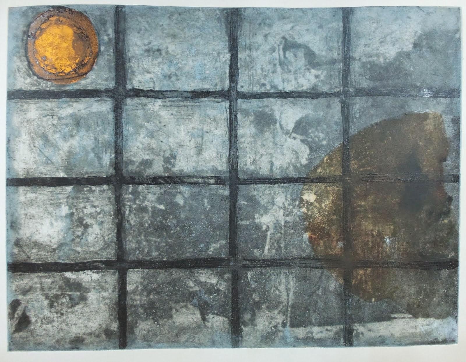 """""""Encerrado en la cueva del mito de la caverna"""" grabado y collage 68x83cm, 2014"""