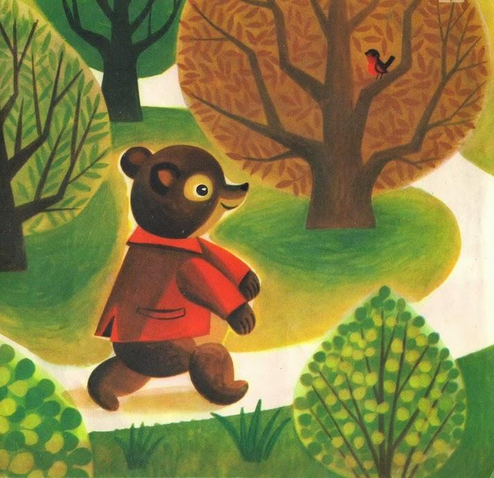 a vintage illustration bu Polish illustrator Janusz Jurjewicz of a baby bear