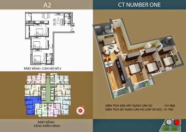 thiết kế chi tiết căn hộ số 2 - 91,7 m2 dự án ct number one
