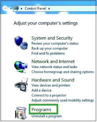 Control panel >  Programs