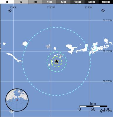 Epicentro sismo 6,1 grados en Alaska, 13 de Noviembre 2013