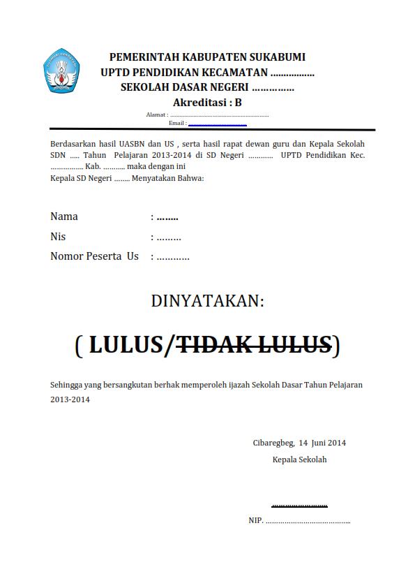 Contoh Format Surat Kelulusan Sekolah Dasar
