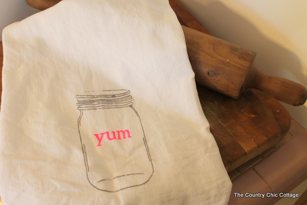 mason jar silk screened kitchen towel