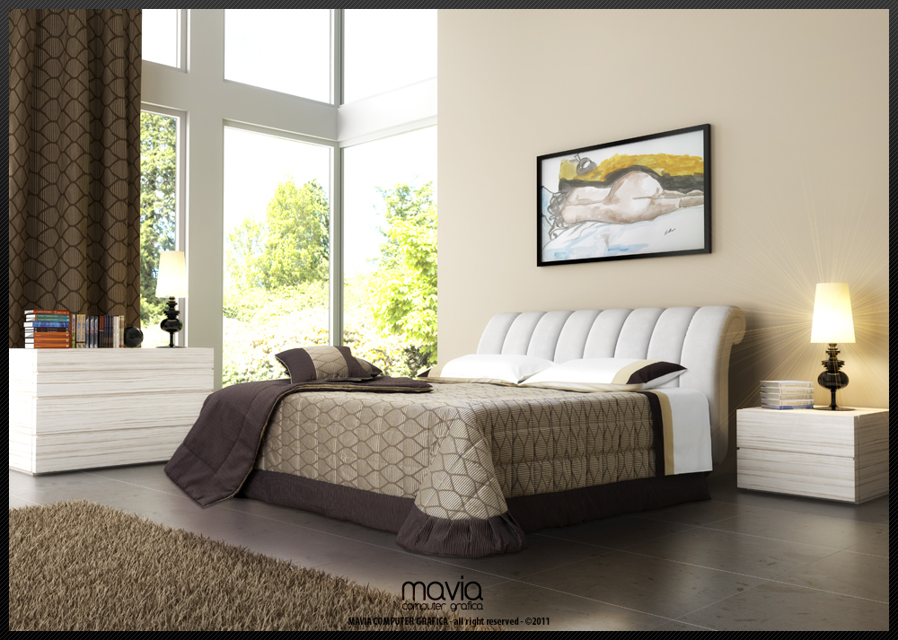 Arredamento di interni letti 3d modelli 3d di letti - Testiera letto moderna ...