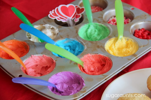 Use a muffin tin to contain the icing when decorating cupcakes with kids.