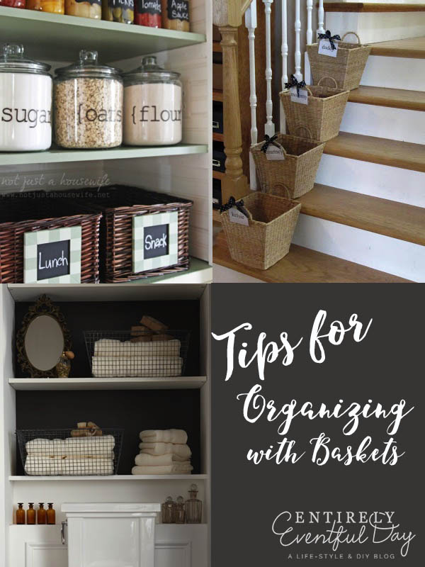 Great tips for using baskets to organize in your home. I need more baskets!