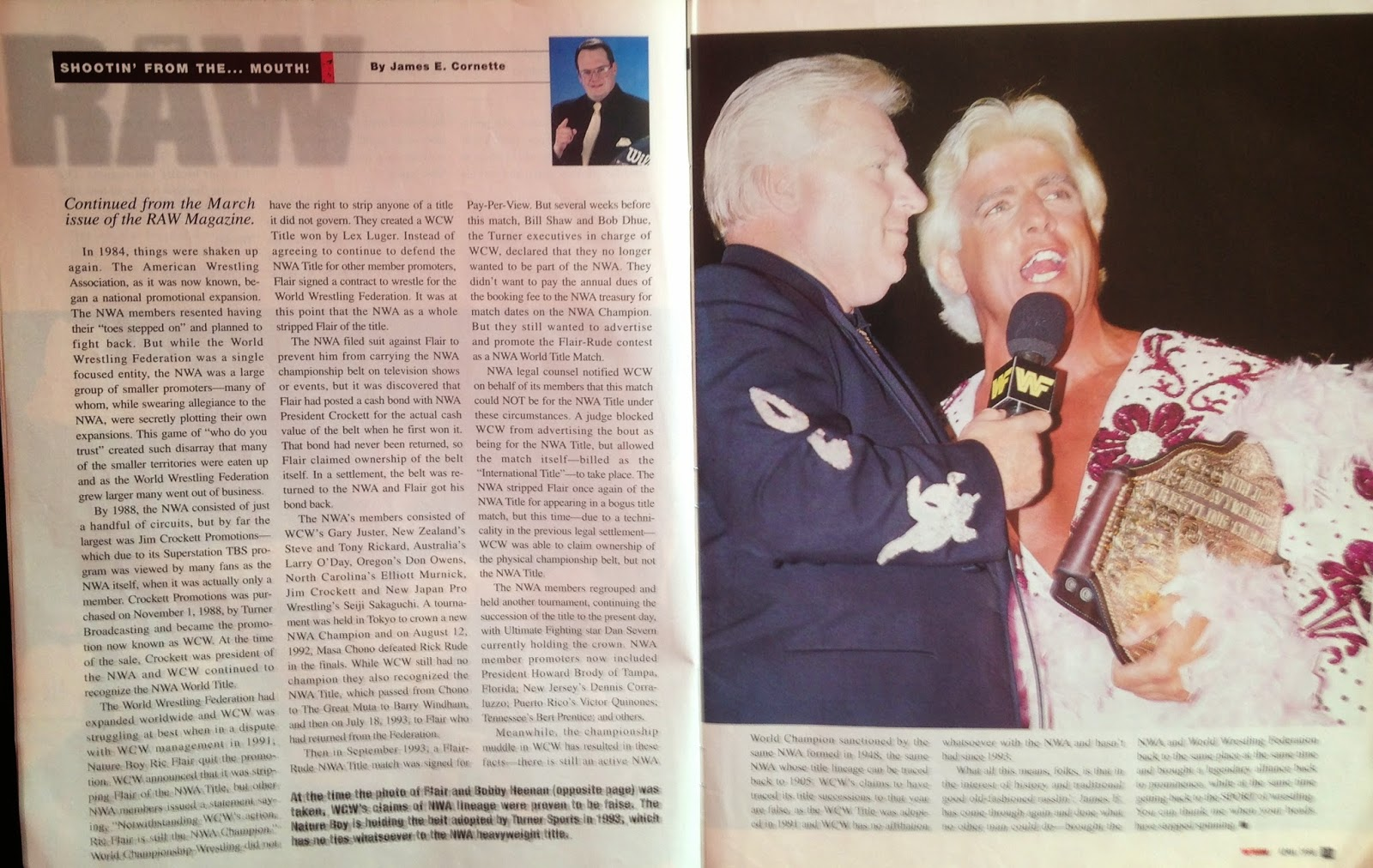 WWE - WWF Raw Magazine - April 1998 -   Jim Cornette charts the history of the NWA title