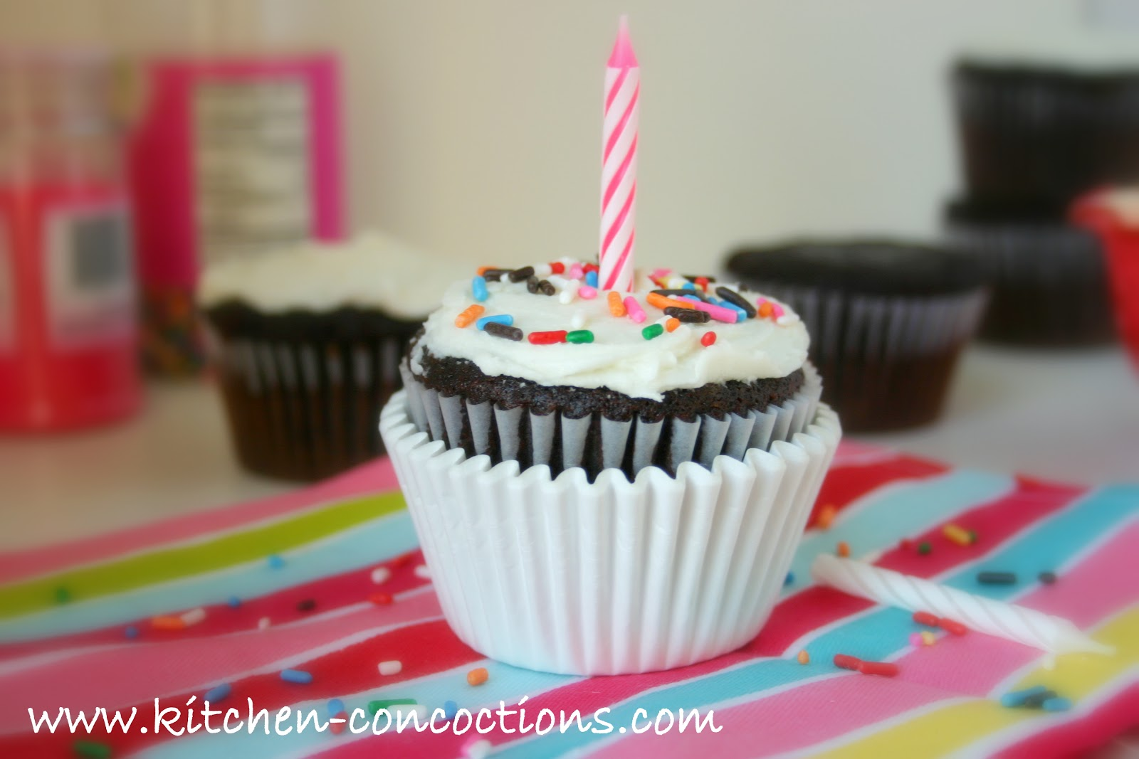 One Bowl Chocolate Cupcakes (Eggless) - Kitchen Concoctions