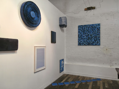 kate mackay, blue circle, oil on canvas, articulate, adrian clement, collection, painting, art, geometric, non objective