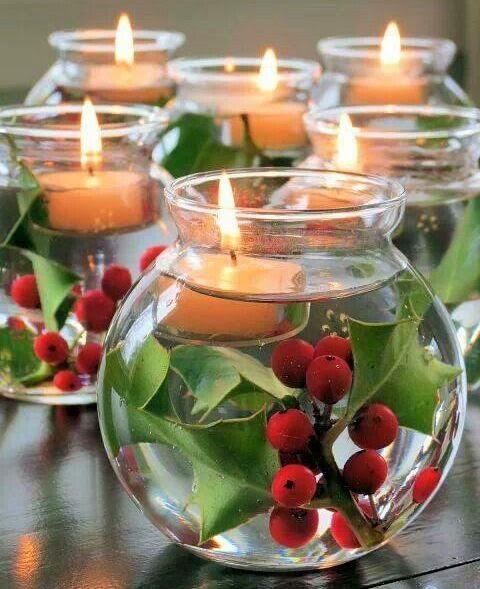 Centros de mesa navide os laetitia freestyle - Copas decoradas con velas ...