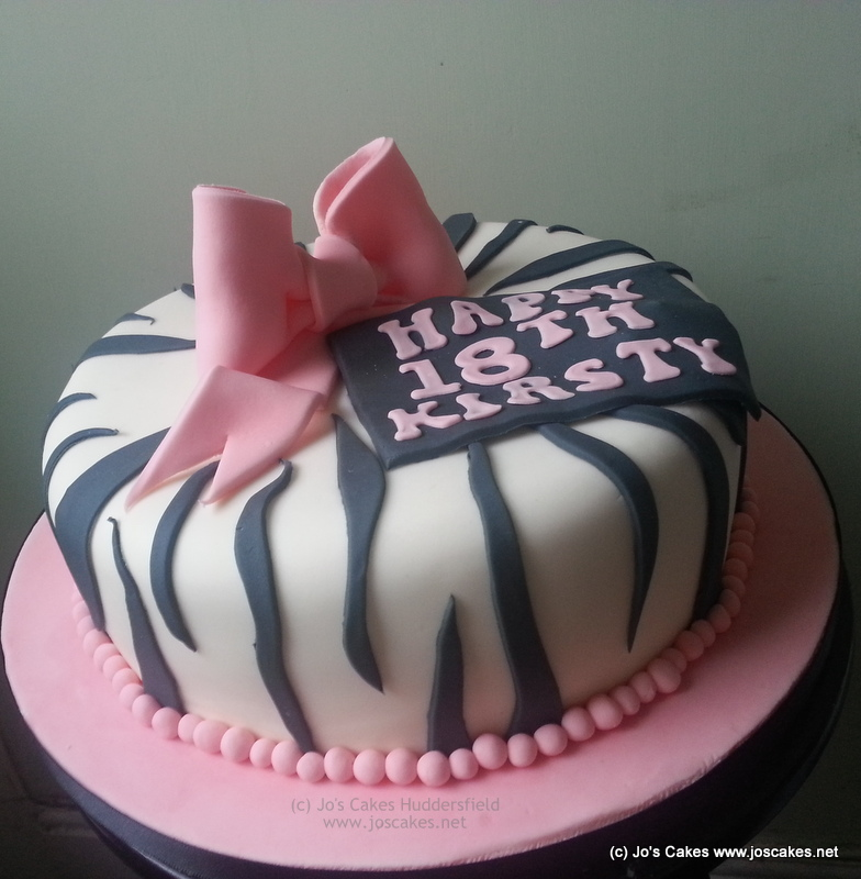 Zebra Design Birthday Cake : Jo s Cakes: Zebra Print 18th Birthday Cake