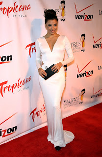 Eva Longoria in a white dress on the red carpet