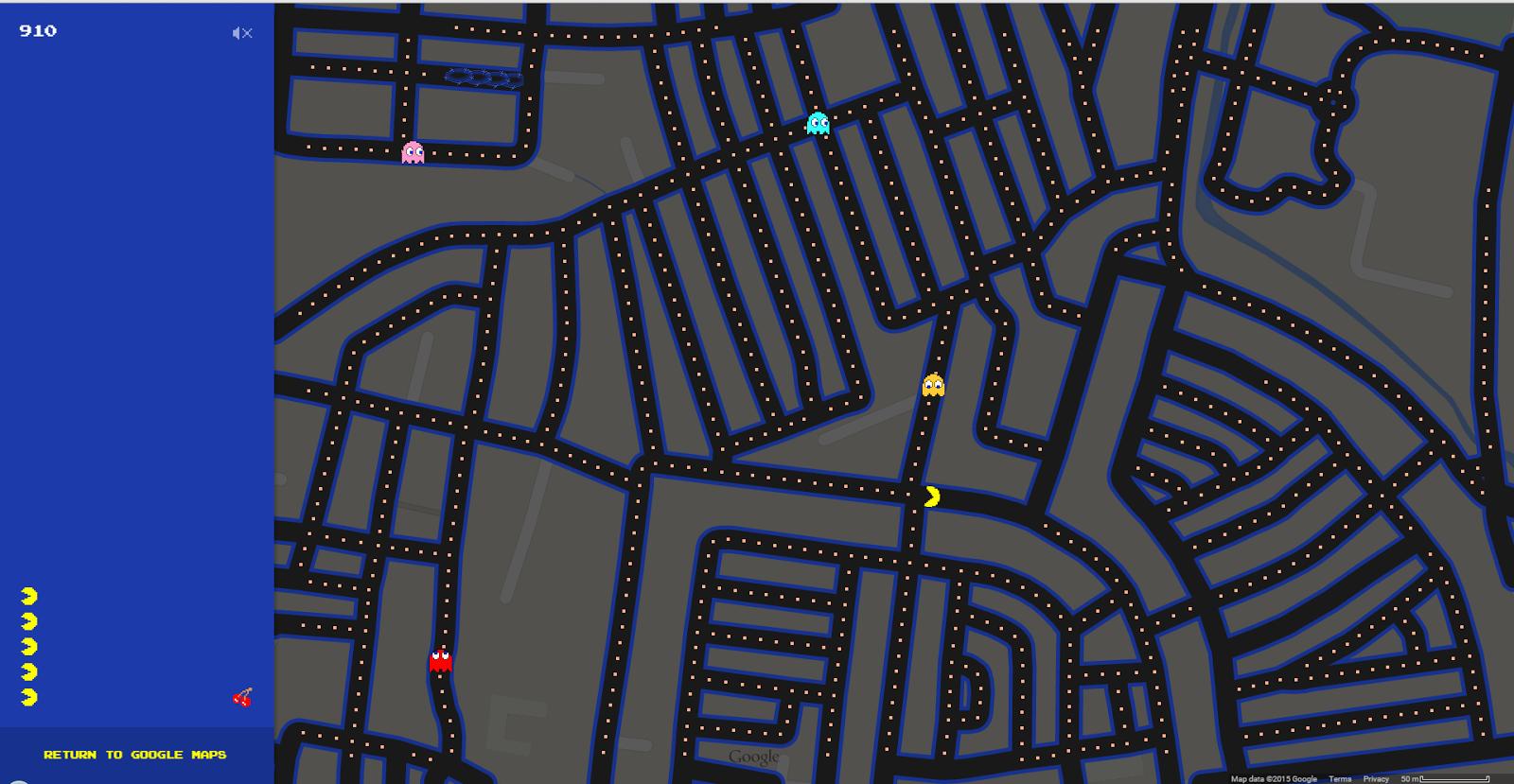 Permainan PACMAN kini di Google Maps Percuma Bermula 1 April 2015