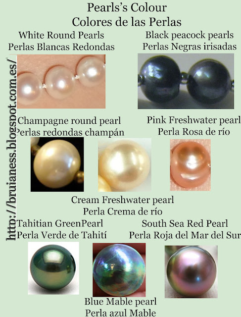 El color de las perlas: diferentes colores de perlas. The pearls color: different pearls color