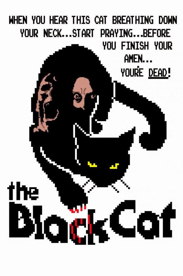 """Imagen de un gato negro con una leyenda: """"Si sientes respirar el gato en tu nuca, reza, antes de terminar estarás muerto""""."""