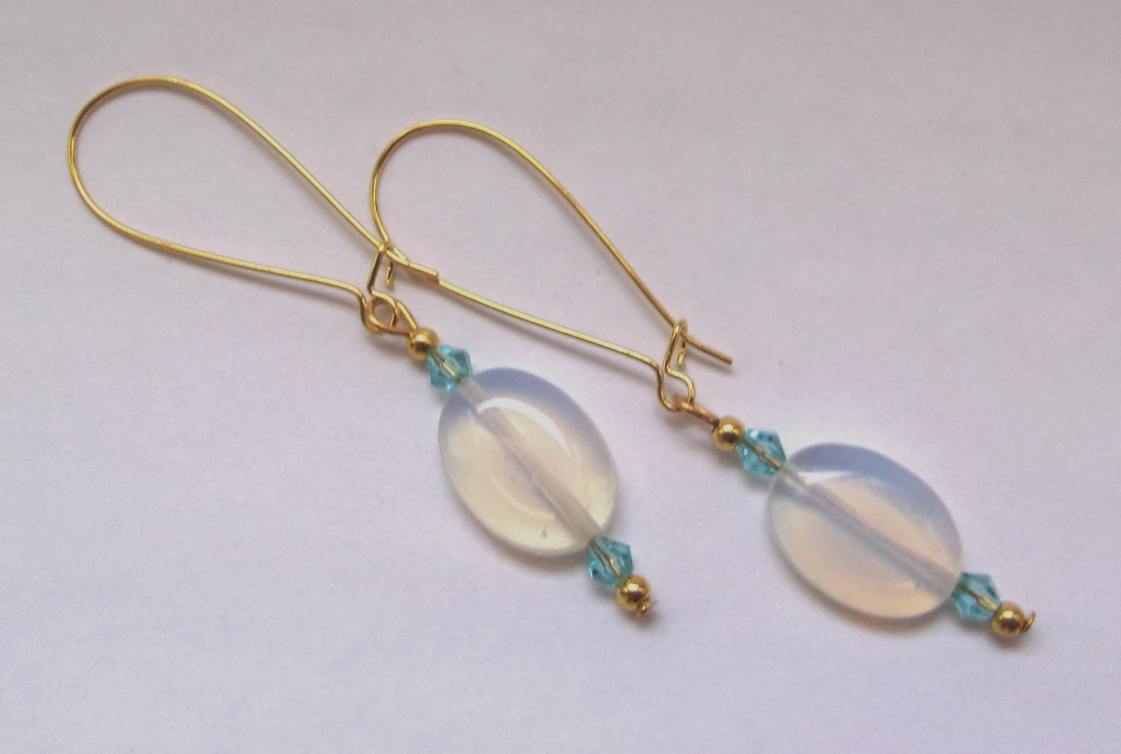 Sri Lanka Moonstone With Blue Bicones Gold Plated