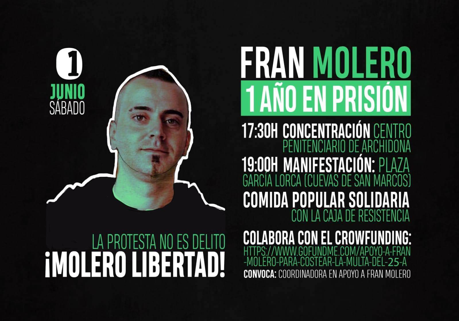 MOVILIZACIONES EN APOYO A FRAN MOLERO(1AÑO EN PRISIÓN) LA PROTESTA NO ES DELEITO. ¡MOLERO LIBERTAD!