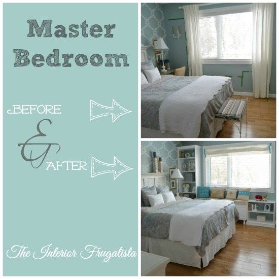 Custom DIY bookcase and window seat in the master bedroom Before and After