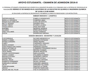 Ingresantes Examen Admisión SAN MARCOS UNMSM 2014-II 8 y 9 de Marzo