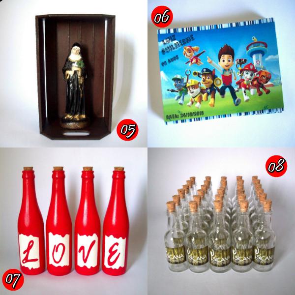 artesanato, crafts, handmade, personalizados, reciclagem, garrafas love, caixote, oratório, patrulha canina festa, decoração,