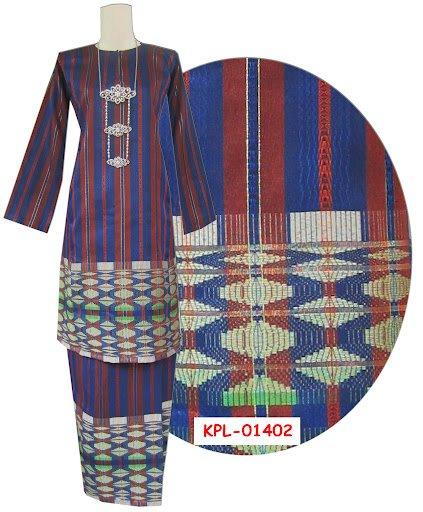 Baju kurung pahang stripe biru merah