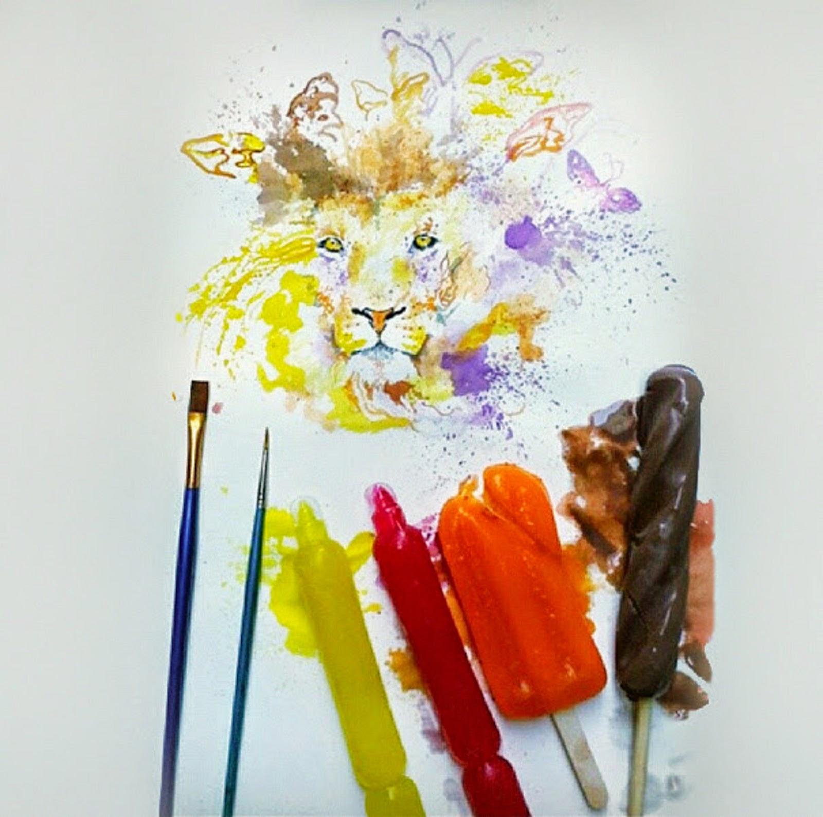 Seniman yang melukis menggunakan es krim