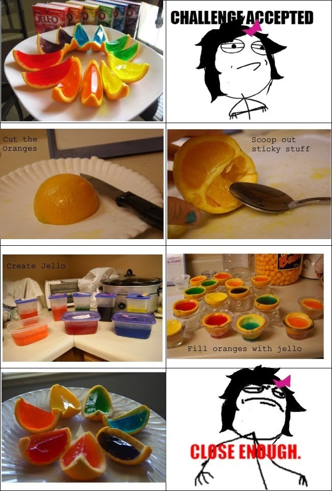 Jello Filled Oranges Challenge Accepted - Close Enough