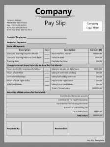 payslip template | free payslip template | sample payslip template