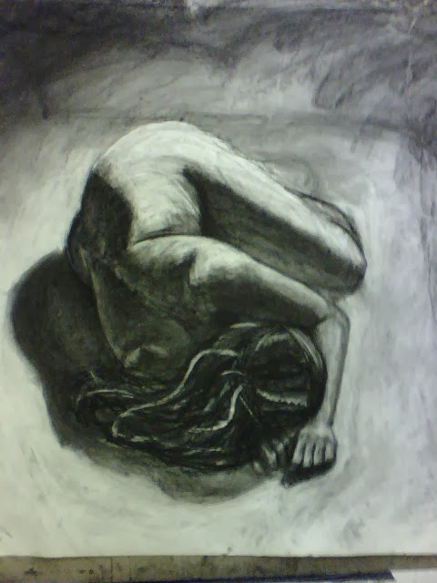 Charcoal Nude Woman Curled on Floor Drawing